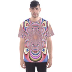 Pastel Shades Ornamental Flower Men s Sport Mesh Tee