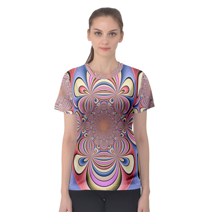 Pastel Shades Ornamental Flower Women s Sport Mesh Tee