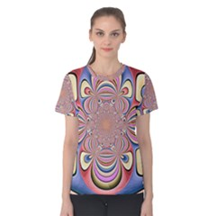 Pastel Shades Ornamental Flower Women s Cotton Tee
