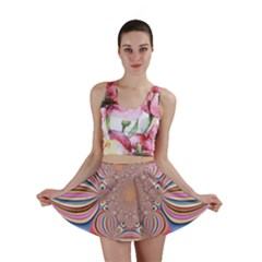Pastel Shades Ornamental Flower Mini Skirt