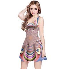 Pastel Shades Ornamental Flower Reversible Sleeveless Dress