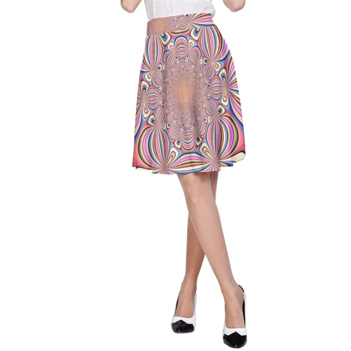 Pastel Shades Ornamental Flower A-Line Skirt
