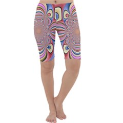 Pastel Shades Ornamental Flower Cropped Leggings