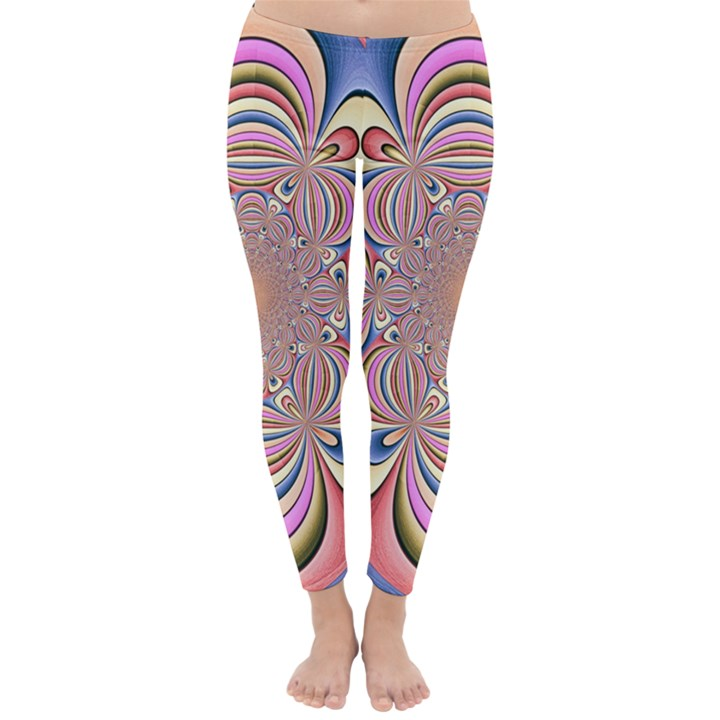 Pastel Shades Ornamental Flower Winter Leggings