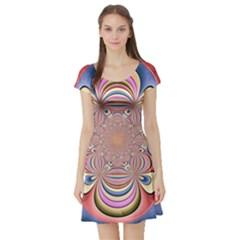 Pastel Shades Ornamental Flower Short Sleeve Skater Dress