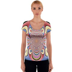 Pastel Shades Ornamental Flower Women s V-Neck Cap Sleeve Top