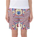 Pastel Shades Ornamental Flower Women s Basketball Shorts View1