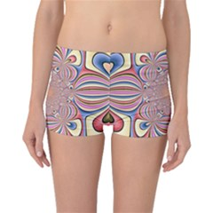 Pastel Shades Ornamental Flower Boyleg Bikini Bottoms