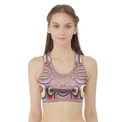 Pastel Shades Ornamental Flower Sports Bra with Border