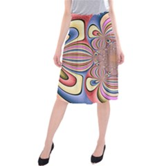 Pastel Shades Ornamental Flower Midi Beach Skirt