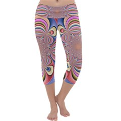 Pastel Shades Ornamental Flower Capri Yoga Leggings