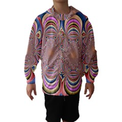 Pastel Shades Ornamental Flower Hooded Wind Breaker (Kids)