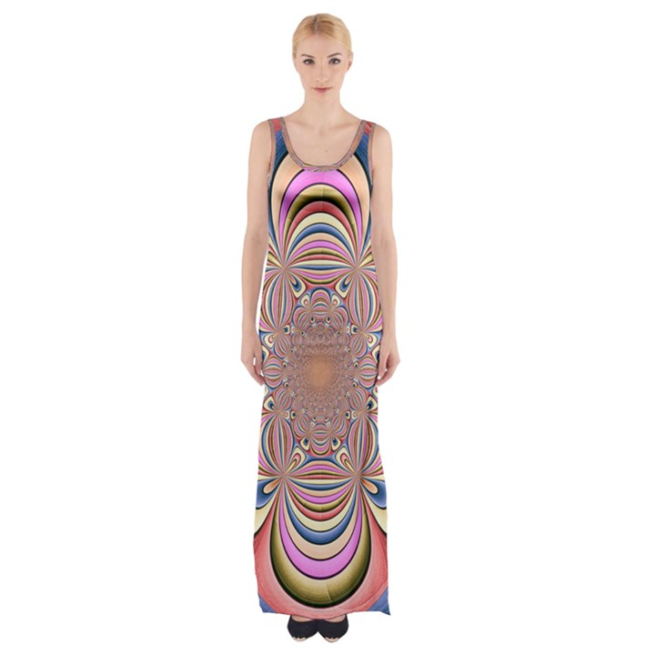 Pastel Shades Ornamental Flower Maxi Thigh Split Dress
