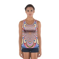 Pastel Shades Ornamental Flower Women s Sport Tank Top