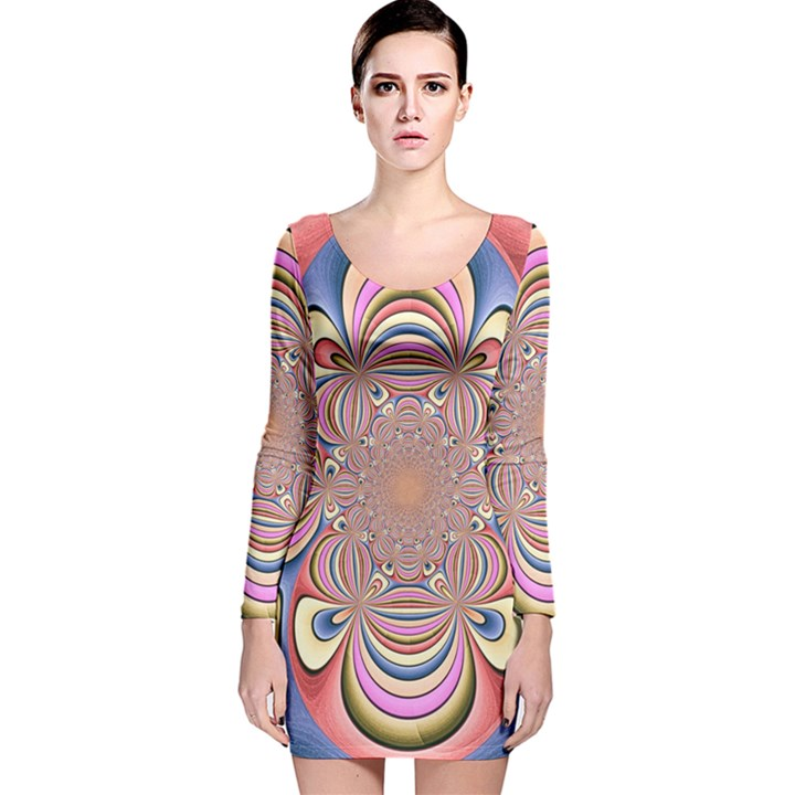 Pastel Shades Ornamental Flower Long Sleeve Velvet Bodycon Dress