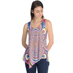Pastel Shades Ornamental Flower Sleeveless Tunic