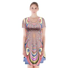 Pastel Shades Ornamental Flower Short Sleeve V Neck Flare Dress