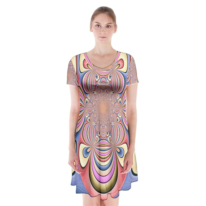 Pastel Shades Ornamental Flower Short Sleeve V-neck Flare Dress