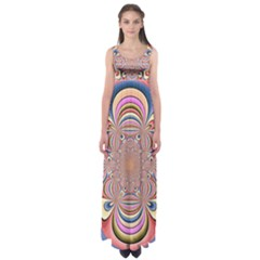 Pastel Shades Ornamental Flower Empire Waist Maxi Dress