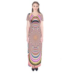 Pastel Shades Ornamental Flower Short Sleeve Maxi Dress