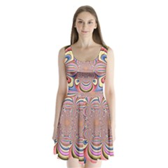 Pastel Shades Ornamental Flower Split Back Mini Dress