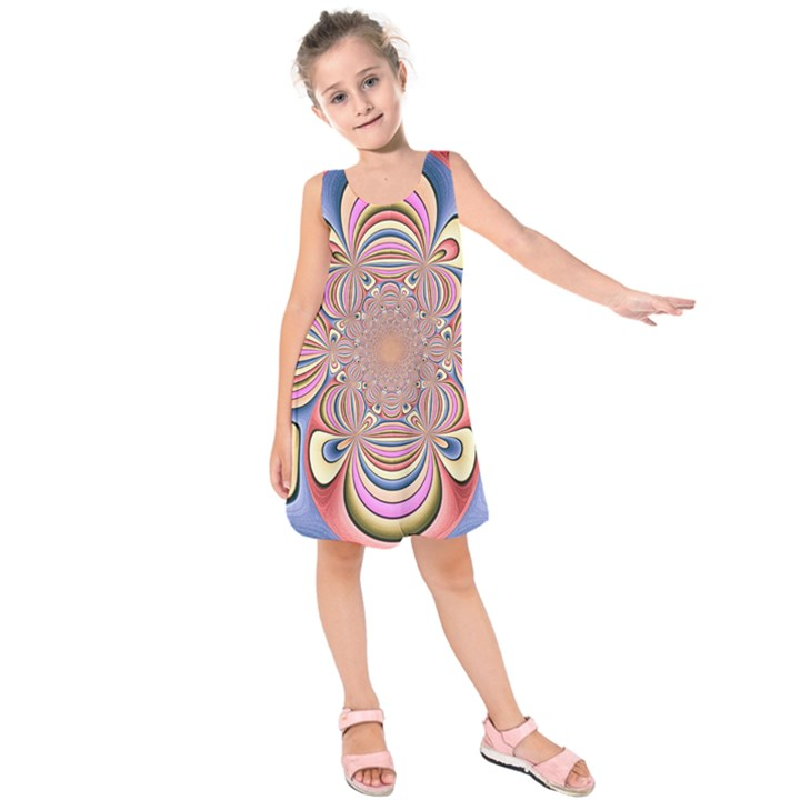 Pastel Shades Ornamental Flower Kids  Sleeveless Dress