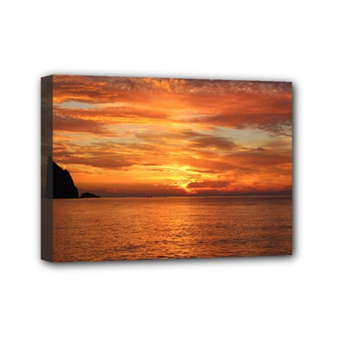 Sunset Sea Afterglow Boot Mini Canvas 7  x 5