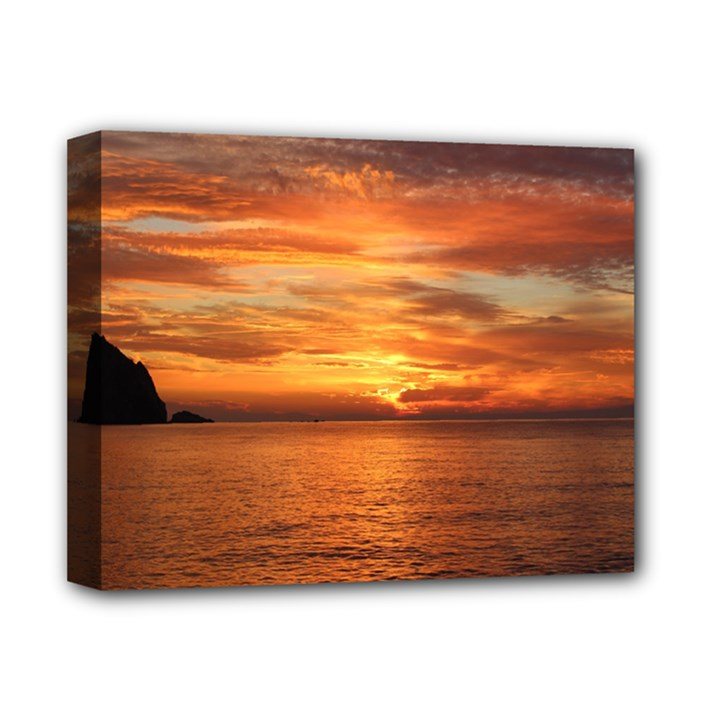 Sunset Sea Afterglow Boot Deluxe Canvas 14  x 11