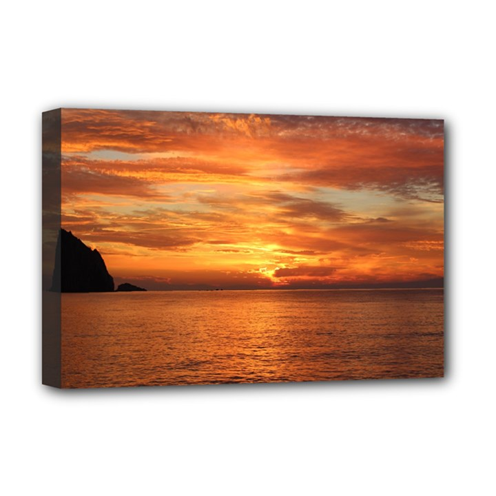 Sunset Sea Afterglow Boot Deluxe Canvas 18  x 12