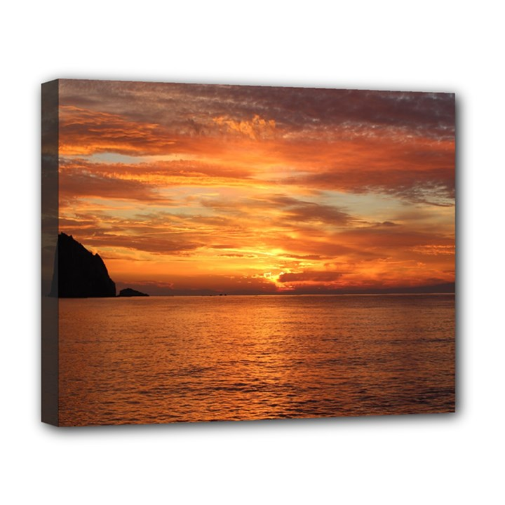 Sunset Sea Afterglow Boot Deluxe Canvas 20  x 16