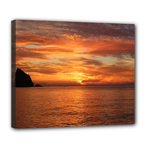 Sunset Sea Afterglow Boot Deluxe Canvas 24  x 20