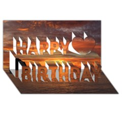 Sunset Sea Afterglow Boot Happy Birthday 3D Greeting Card (8x4)