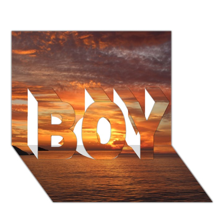 Sunset Sea Afterglow Boot BOY 3D Greeting Card (7x5)