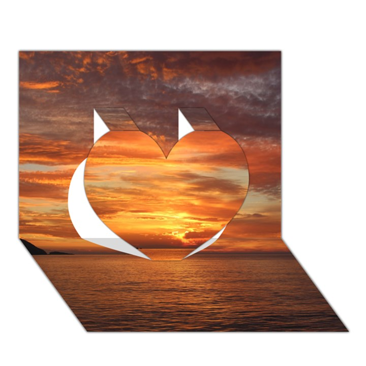 Sunset Sea Afterglow Boot Heart 3D Greeting Card (7x5)