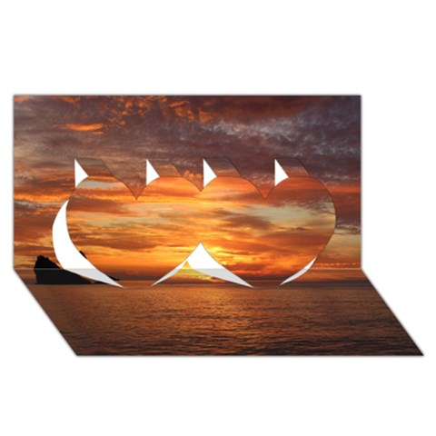 Sunset Sea Afterglow Boot Twin Hearts 3D Greeting Card (8x4)