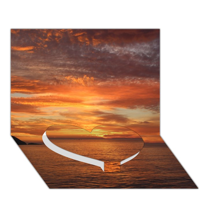 Sunset Sea Afterglow Boot Heart Bottom 3D Greeting Card (7x5)