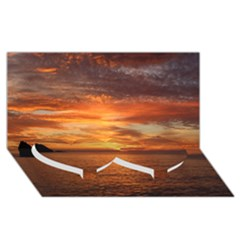Sunset Sea Afterglow Boot Twin Heart Bottom 3D Greeting Card (8x4)