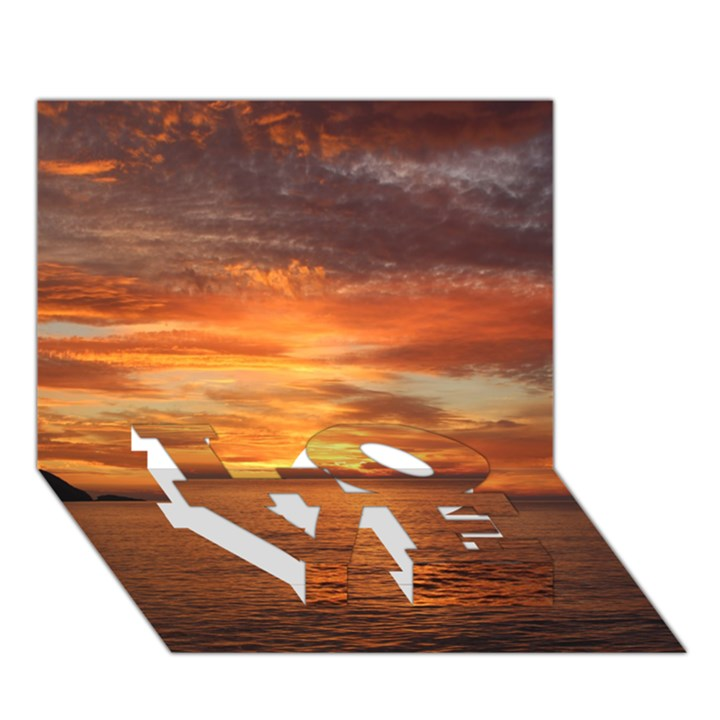 Sunset Sea Afterglow Boot LOVE Bottom 3D Greeting Card (7x5)