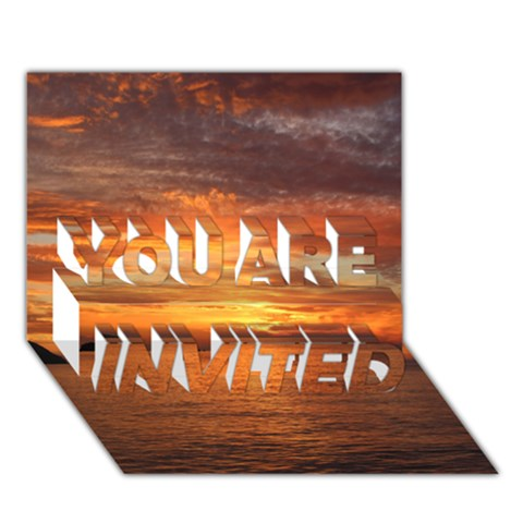 Sunset Sea Afterglow Boot YOU ARE INVITED 3D Greeting Card (7x5)