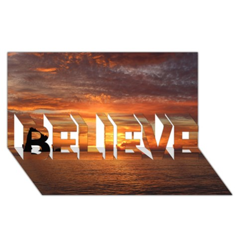 Sunset Sea Afterglow Boot BELIEVE 3D Greeting Card (8x4)