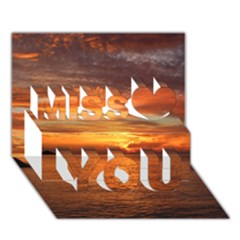 Sunset Sea Afterglow Boot Miss You 3D Greeting Card (7x5)