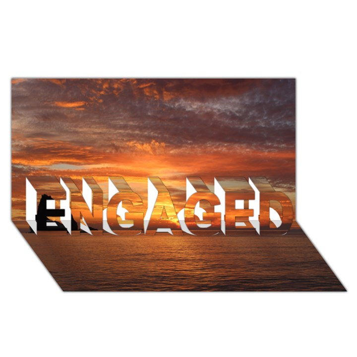 Sunset Sea Afterglow Boot ENGAGED 3D Greeting Card (8x4)