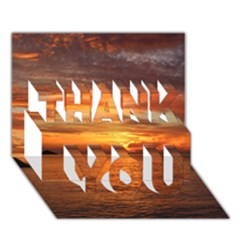 Sunset Sea Afterglow Boot THANK YOU 3D Greeting Card (7x5)