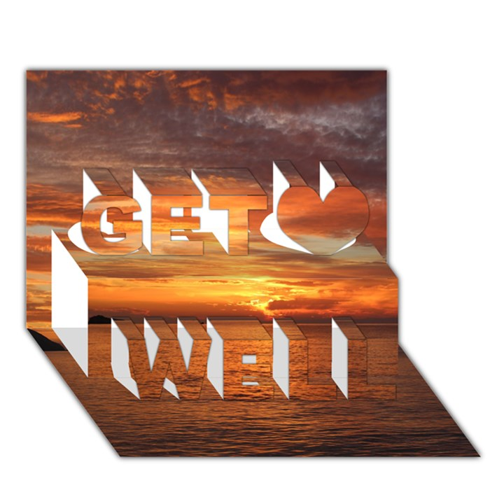 Sunset Sea Afterglow Boot Get Well 3D Greeting Card (7x5)