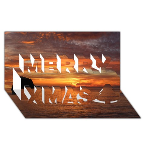 Sunset Sea Afterglow Boot Merry Xmas 3D Greeting Card (8x4)