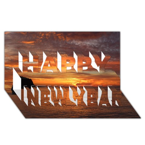 Sunset Sea Afterglow Boot Happy New Year 3D Greeting Card (8x4)
