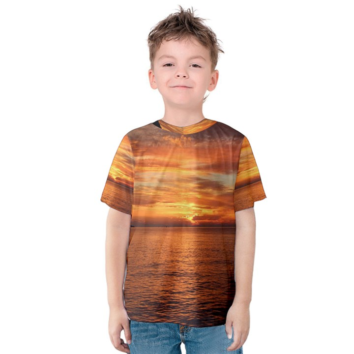 Sunset Sea Afterglow Boot Kids  Cotton Tee