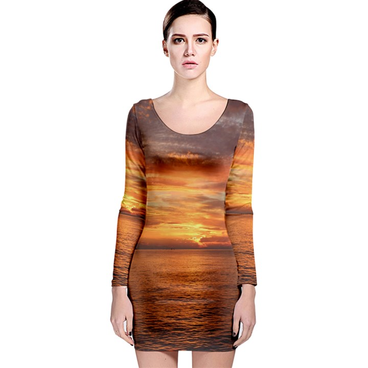 Sunset Sea Afterglow Boot Long Sleeve Bodycon Dress