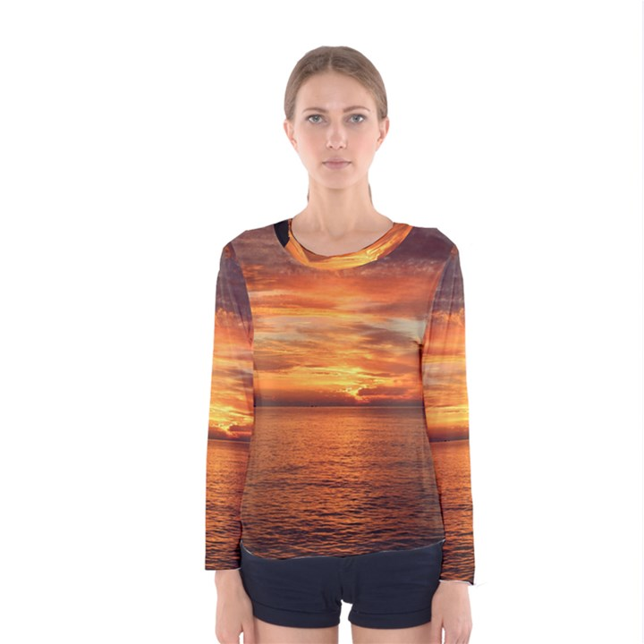 Sunset Sea Afterglow Boot Women s Long Sleeve Tee