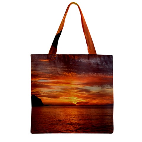 Sunset Sea Afterglow Boot Zipper Grocery Tote Bag